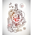 sketch steampunk mechanism vector image vector image
