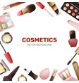 square background with some types cosmetics vector image vector image
