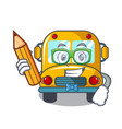 student school bus character cartoon vector image