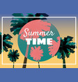 summer time at seashore sea landscape with palms vector image vector image