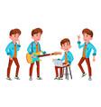 teen boy poses set face children for web vector image vector image