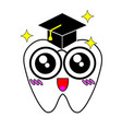 white tooth with a cap of the graduate vector image