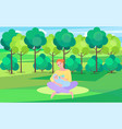 woman and bain green park mother feeding child vector image vector image