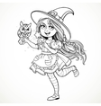 Cute little girl dressed as witch with a owl and vector image