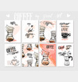 set of modern posters with coffee vector image