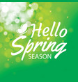 hello spring on green bokeh background greeting vector image