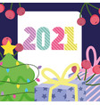 2021 happy new year tree with gifts box vector image vector image