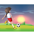 A girl playing football in the afternoon vector image vector image