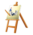 A painting with a paint brush vector image vector image
