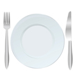 Background with plate fork and knife vector image vector image