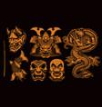 black and white samurai clipart vector image vector image