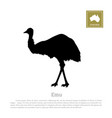 black silhouette of ostrich on white background vector image vector image