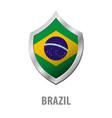 brazil flag on metal shiny shield vector image