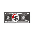 christmas bill one hundred dollar with santa vector image vector image