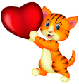 cute cat with heart love vector image vector image