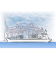 Drawing of loading cargo ship vector image