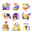 education and knowledge obtaining reading books vector image vector image