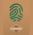environment day card green cutout finger print vector image vector image