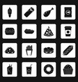 fast food icons set squares vector image vector image