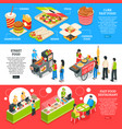 fast food isometric banners set vector image vector image