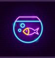 fish aquarium neon sign vector image vector image