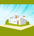 flat style modern architecture house with green vector image