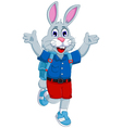 funny rabbit cartoon going to school vector image