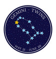 gemini zodiac constellation in space round icon vector image