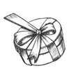 gift box in round shape with ribbon retro vector image vector image