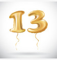 golden number 13 thirteen made of inflatable vector image vector image