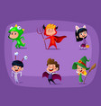 group of kids in halloween costume cartoon vector image vector image