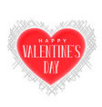 happy vanetines day heart with scribble pattern vector image