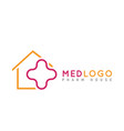 health medical isolated logo monoline cross in vector image vector image