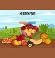 healthy food poster with rural landscape vector image vector image