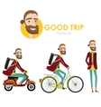 Hipster man on scooter vector image vector image