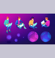 isometric distance working social isolated people vector image vector image