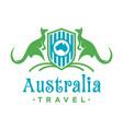 kangaroo animal shield logo design vector image vector image