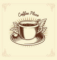 logo coffee label drawing traditional vector image vector image