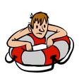 man clinging to life preserver cartoon vector image vector image