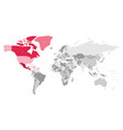 map of world in grey colors with red highlighted vector image vector image