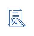 marriage contract line icon concept marriage vector image vector image
