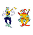 medieval characters minstrel and buffoon isolated