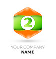 number two logo in the colorful hexagonal vector image vector image