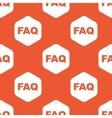 Orange hexagon FAQ pattern vector image vector image
