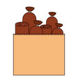 paper bag with pieces of sausages in colorful vector image