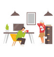 people coughing at working place man and woman vector image vector image