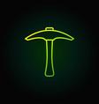 pickaxe green outline icon pick axe vector image