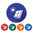 round icon of solar battery flat style with long vector image