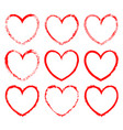 set of heart-shaped frames drawn in red ink vector image vector image