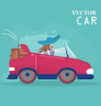 the girl drives the car flat style vector image vector image